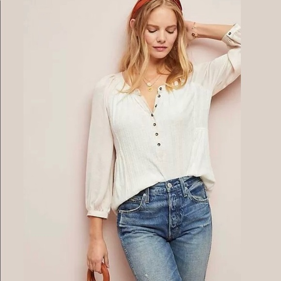 Anthropologie Kersee Henley Top - Size Med-NWT